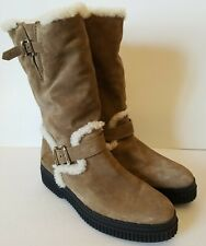 Tods Boots 9/40 Mid Calf Tan Leather Sherpa Lined Buckle Thick Rubber Soles