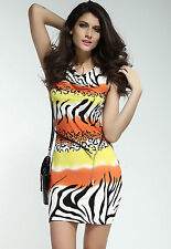 Novelty Zebra Stone Casual Dress with Waist belt Orange