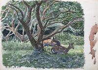 Acquerello Impressionista Karl Adser Daini Su Prato Sotto Albero 37,5 x 27,5