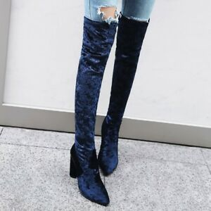 Ladies Retro Over The Knee Boots New Fashion Velvet Pull On Stretchy Court Shoes