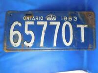 ONTARIO LICENSE PLATE 1953 LONG 65770 T TRAILER VINTAGE CANADA SHOP GARAGE SIGN