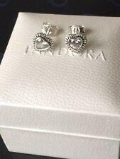 Genuine 925 Silver Pandora Sparkling Love Heart Earrings