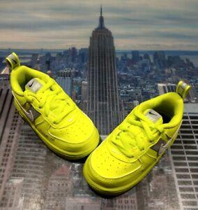 Nike Air Force 1 LV8 Utility Volt/White-Grey TD Toddler Size 6c AV4273 700 New