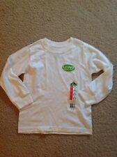 NEW~Fruit of the Loom Boys White Long Sleeve Crew Tee T-Shirt Rib Cuff~XS~4/5