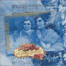 2 Serviettes en papier Anges Noël Decoupage Paper Napkins Angels Anno 1920