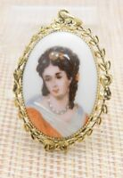LIMOGES France Hand-Painted Woman Oval Gold Tone Necklace Pendant Vintage