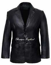 Men's Leather Blazer Black Formal Classic Tailored SOFT GENUINE LEATHER 9124