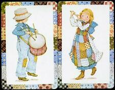 SWAP CARDS HOLLY HOBBIE BOY WITH DRUM AND OLD FASHIONED GIRL WITH FLUTE (NEW)