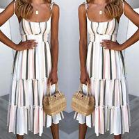 Summer Women Boho Holiday Strappy Striped Beach Sundress Party Midi Dress Ladies