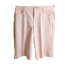 Lane Bryant Women's Peach Released Hem Wide Leg Crop Denim Jeans Size 16