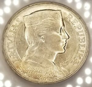 1931 Latvia 5 Lati World Silver Coin ICG MS62 Certified