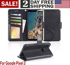 Google Pixel 3 Wallet Case PU Leather Wrist Strap Stand Card Pocket Holder Black