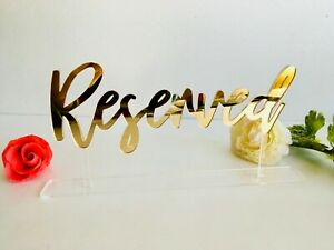 Reserved Sign Reception Wedding Table Decor Free Standing Custom Order Acrylic