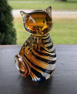 vtg Murano Glass cat paperweight figurin Hand Blown Swirl Black White Amber Blue