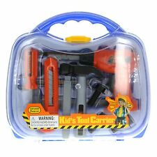 Kids Tool Carrier Set Pretend Play Just Like Dad Toolbox - Blue