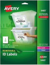 Avery 6465 Printable Removable Id Labels, Pack of 25, Letter Size, White