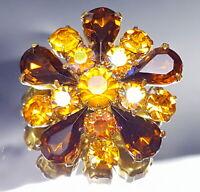Art Deco Amber glass lace brooch