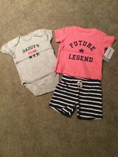 "Carter's Girls 3pc ""Future Legend"" Tee, ""Daddy's #1 Mvp"" Bodysuit & Shorts 3M"
