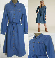 NEW M&S Ladies Blue Denim Midi Shirt Dress Belted Long Sleeve RRP £55 Size 6-24