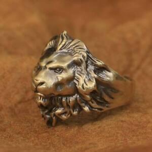 LINSION Brass Lion King Ring High Details Mens Biker Rock Ring BR109A