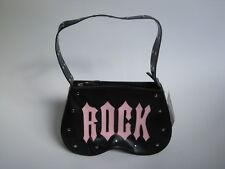 """*Demonia Studded Matte Black & Pink """"ROCK"""" Shoulder Purse Handbag Pinup Goth"""