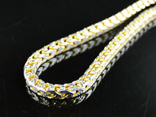 14k Yellow Gold Finish Solid Franco Chain Necklace Real Sterling Silver 3mm 30in