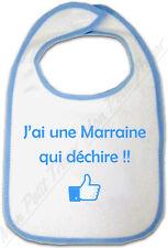 Bavoir Bleu Bébé J'ai une Marraine qui déchire !!