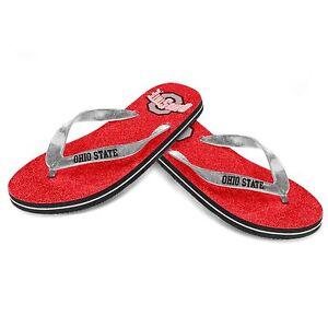 Ohio State Buckeyes NCAA College Womens Ladies Glitter Thong Flip Flop Sandals