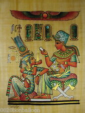 """Original Hand Painted Papyrus 8""""X12"""" (20x30 Cm) King & Queen Ancient Pharaoh"""