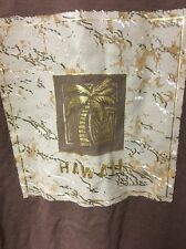 HAWAII T-shirt Men's Large ABC Design Brown Gold Palm Tree Made In USA EUC