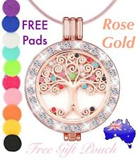 Crystal Tree of Life Rose Gold Essential Oil Aroma Diffuser Locket Necklace Gift