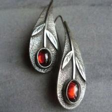 Vintage Long Hook Dangle Indian Jewelry G_Es 1 pair Leaf Drop Earrings Red Ruby