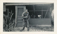 WWII 1942 6th USAAF 43d FS Airman  Moody Schultz with pistol out photo