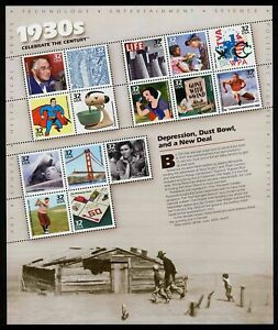 USA. SCOTT #3185. 1930s CELEBRATE THE CENTURY. PANE OF 15 STAMPS.
