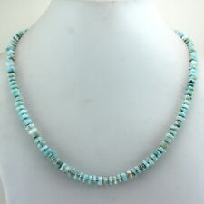 Necklace natural blue larimar gemstone beaded 925 solid sterling silver 20 gram