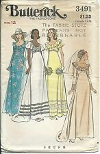 B 3491 sewing pattern 70's A-line Wedding DRESS Bridal GOWN sew Gorgeous size 12