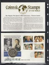 Western Samoa Stamp Cover with Coin- Queens 40th Anniversary
