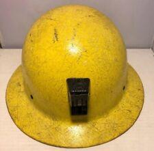 Vintage Yellow Full Brim Willson Fiber Glass Miner's Hard Hat Safety Helmet