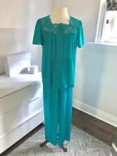 Vintage Nylon Pajamas Medium Teal Blue PJ Pretty Set 70s Long Pants UNUSED