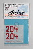 Archer 1/16 Tiger II (King Tiger) Markings 2./s.SS-Pz.Abt.501 Ardennes AR16020