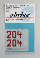 Archer 1/16 Tiger II (King Tiger) Markings 2./s.SS-Pz.Abt.501 Ardennes AR16020