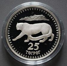 25 Tukhrik Argent pièce menaçait faune-Neige Léopard Mongolie 1987 -02217 -
