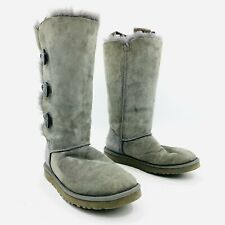 Ugg Bailey Button Tall 1873 Gray Shearling Boots Womens Size 8