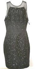 Vara Wang Black Color Sequin  Embroidered Sleeve Formal  Dress Size 14
