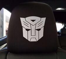 Pair NEW Black Spandex Car Headrest Covers Interior White TRANSFORMER AUTOBOT
