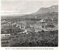 Terni: Panorama delle Acciaierie. Umbria. Stampa Antica + Passepartout. 1895