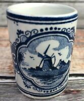 Blue Delft Vandermint Porcelain Shot Glass Crazing Great Piece
