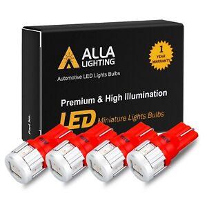 Alla Lighting 4pcs 194 168 LED Tail Light Bulb Lamp /Center High Mount Stop Red