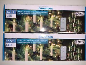 GRUNDIG - 2 PACKUNGEN Weihnachtsbaumkerzen KABELLOS - LED mit Fernbedienung