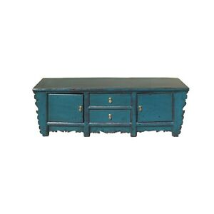 Oriental Distressed Rustic Teal Blue Lacquer Low Console Table Cabinet cs4622